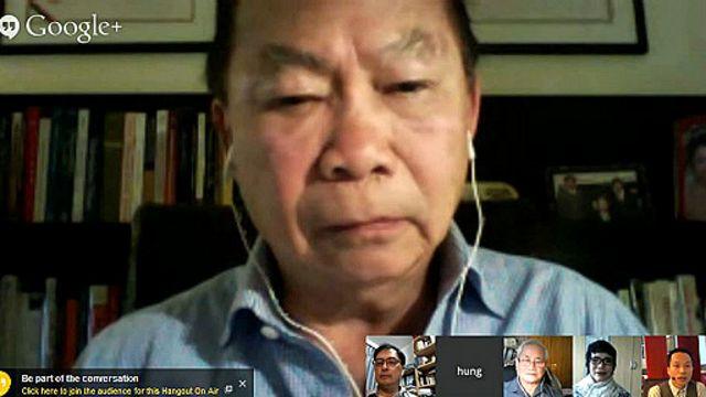 Giáo sư Nguyễn Mạnh Hùng trong một buổi thảo luận của BBC Tiếng Việt