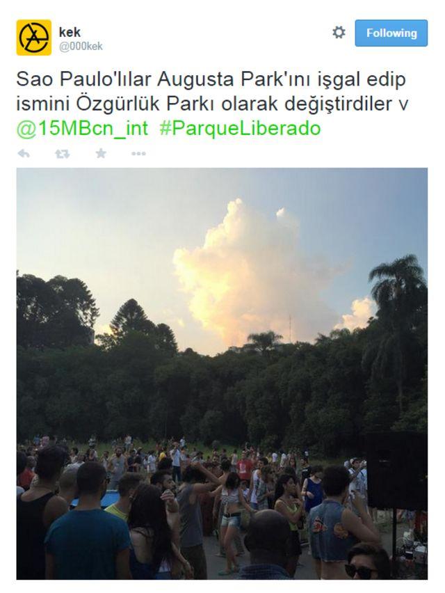 """""""O povo de São Paulo ocupou o parque Augusta, que agora se chama parque da Liberdade"""", dizem turcos do parque Gezi"""