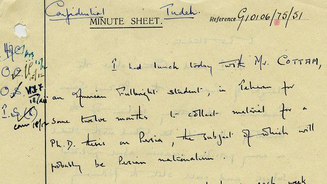 بنا بر این سند آرشیو ملی بریتانیا، کاتم در دوران دانشجویی در ایران با یکی از ماموران سفارت درباره میزان نفوذ توده و فضای ضد بریتانیایی دانشگاه صحبت کرده بود