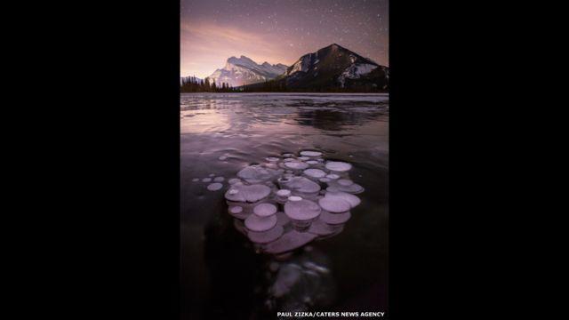 Burbujas de gas metano bajo la superficie helada de un lago. Fotografía: Paul Zizka.
