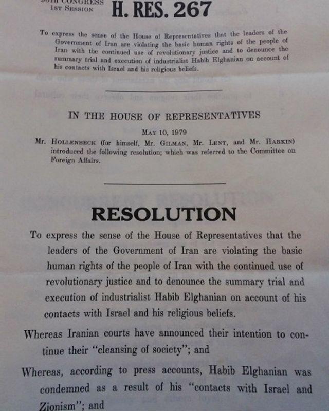 پیشنویس اولین قطعنامه حقوق بشری علیه ایران در کنگره - این سند یک روز پس از اعدام حبیبالله القانیان در مجلس نمایندگان آمریکا تدوین شد. پیشنویس قطعنامه سنا اما زودتر به رأی گذاشته شد