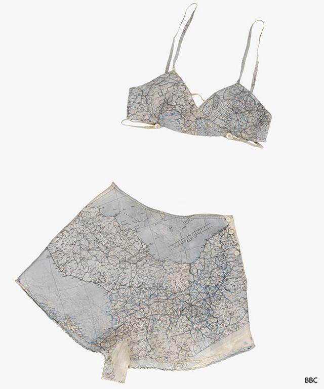 Ropa interior hecha con un mapa de seda