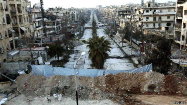 بخشهایی از مناطق مسکونی سوریه در نتیجه جنگ ویران شده است