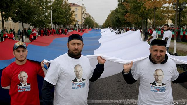 Акция в поддержку Путиина в Грозном в октябре 2014 года