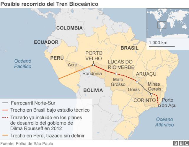 Mapa del tren biocéanico