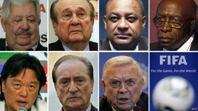 Fifa 委員會成員包括(上排左起):拉斐爾·埃斯奎維爾、尼古拉斯·萊奧茲、傑弗裏·韋伯、傑克·沃爾納、愛德華多·李、尤金尼奧·費格雷多、何塞·馬里亞·馬林