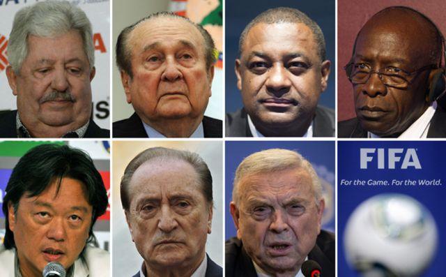Gözaltına alınan FIFA yetkilileri (Sol üstten başlayarak): Rafael Esquivel, Nicolas Leoz, Jeffrey Webb, Jack Warner, Eduardo Li, Eugenio Figueredo ve Jose Maria Marin.