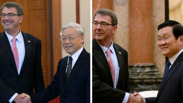 Bộ trưởng Quốc phòng Hoa Kỳ đã gặp gỡ các lãnh đạo Đảng và Nhà nước trong chuyến thăm Hà Nội mà Hoa Kỳ đã ký tuyên bố tầm nhìn hợp tác quốc phòng với Việt Nam.