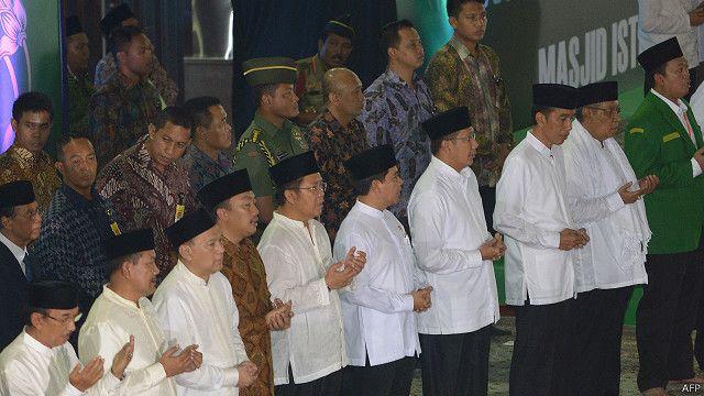 Presiden Joko Widodo, Menteri Agama bersama pimpinan NU dalam sebuah acara di Masjid Iqtiqlal pada 2015 lalu.