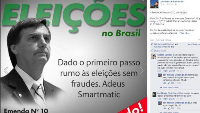 Popular nas redes sociais - tem mais de um milhão de seguidores no Facebook - Bolsonaro costuma curtir os próprios posts