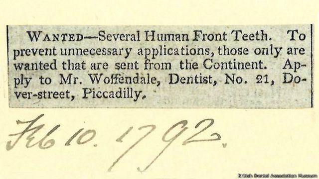 Se compran dientes extranjeros, dice este anuncio de 1792.