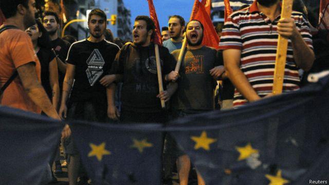 Partidarios del No marchan en Grecia