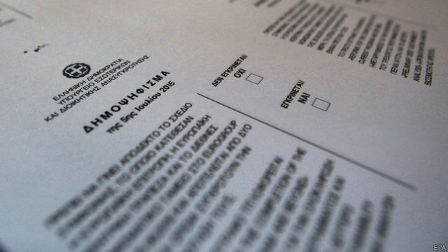 Boleta del referendo en Grecia