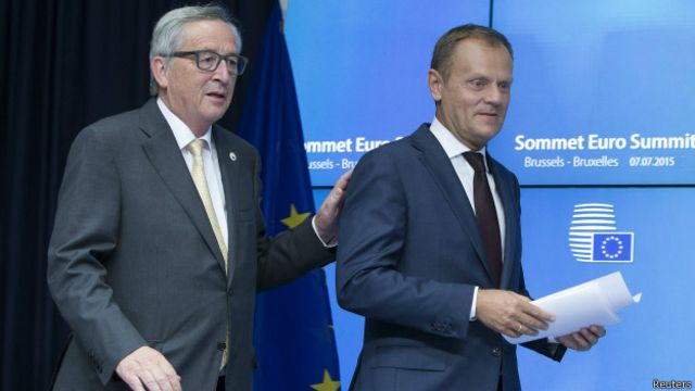 Jean Claude Juncker (à esq.) e Donald Tusk (à dir.) Foto: Reuters