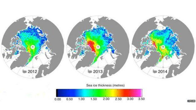 Data tutupan es di Arktik pada 2012-2014