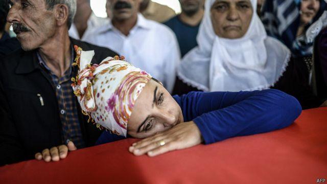 20 Temmuz 2015'te Suruç'ta gerçekleştirilen saldırıda ölen sivillerin cenaze törenlerinden biri.