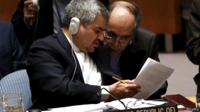 نماینده دائم ایران در سازمان ملل بعد از تصویب قعطنامه ای که تحریم های پیشین شورای امنیت را لغو کرد، سخنرانی کرد