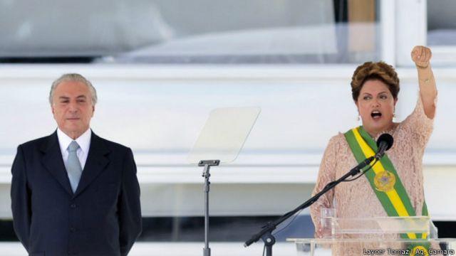La presidenta brasileña, Dilma Rousseff, habla junto a su vicepresidente Michel Temer al asumir su segundo mandato el 1º de enero.