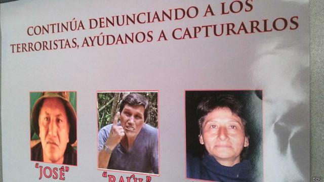 """Fotos de Víctor Quispe Palomino, """"José"""", Jorge Quispe Palomino, """"Raúl"""", y la camarada """"Olga"""""""