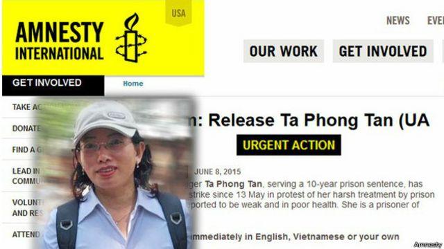 Tổ chức Ân Xá Quốc Tế phát động cuộc vận động khẩn cấp vì tình trạng của tù nhân lương tâm blogger Tạ Phong Tần tháng 6/2015