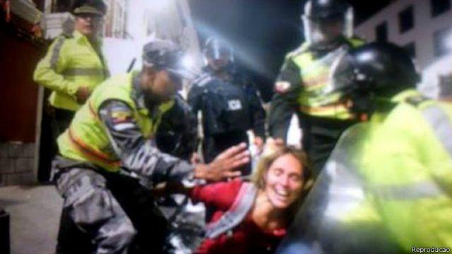 Manuela foi presa em protesto de indígemas nesta quinta-feira em Quito