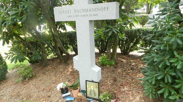 Могила Сергея Рахманинова на кладбище Кенсико
