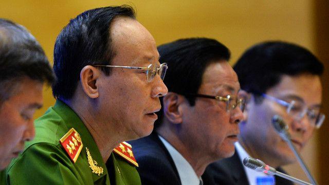 Thượng tướng Lê Quý Vương, Thứ trưởng Bộ Công an, chủ trì buổi họp báo về đặc xá ngày 28/8