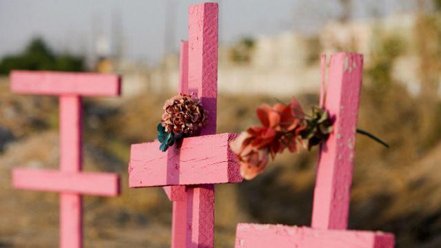 Cruces rosas por los feminicidios en México (archivo)