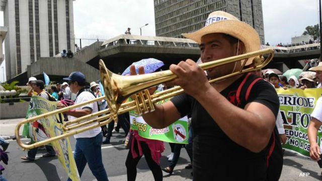 Protesta de maestros en Guatemala.