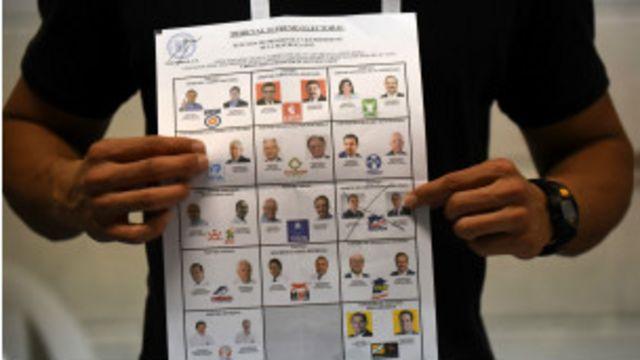 Papeleta electoral en Guatemala