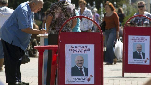 Предвыборные плакаты с Александром Лукашенко