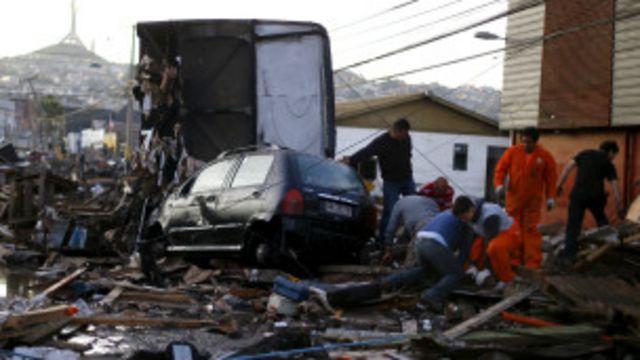 Destrozos causados por el terremoto en Chile.