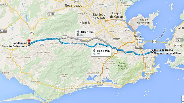 Mapa mostra distância do Recanto da Natureza do centro do Rio: para pesquisadora, distância reforça marginalização (Mapa: Google)