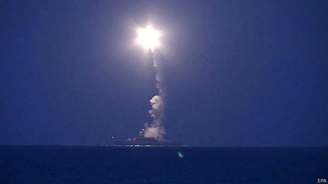 Пуск ракет с корабля Каспийской флотилии