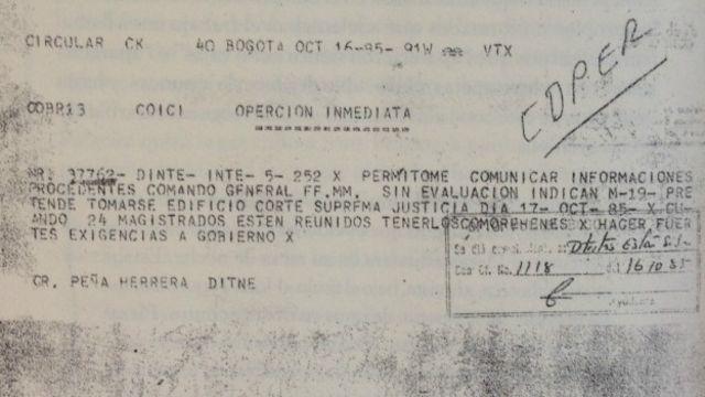 Fragmento de cablegrama que avisaba de la posibilidad de un ataque