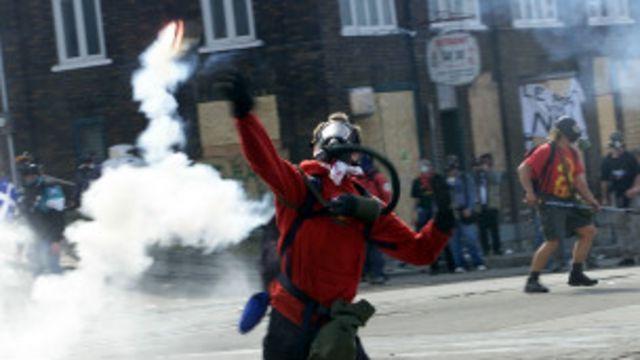 Protestas en Quebec.