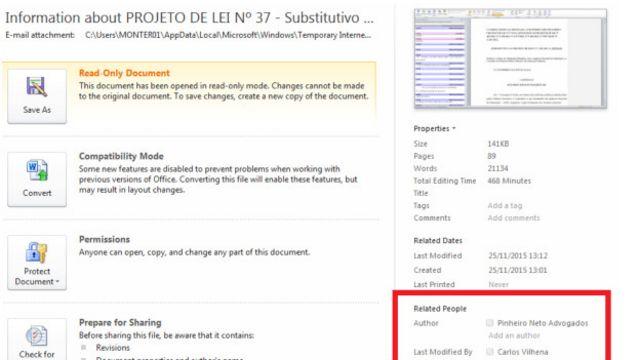 """Escritório Pinheiro Neto reconheceu as alterações feitas em seus computadores, mas informou que o advogado Carlos Vilhena """"não atuou como representante do escritório nessa questão"""""""