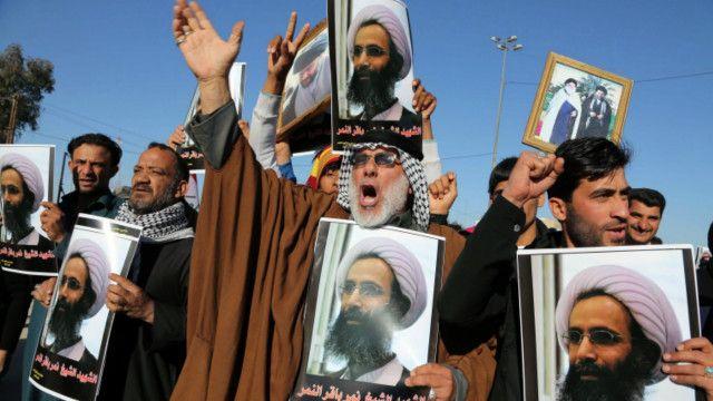 Manifestantes xiitas protestam no Iraque contra a execução do clérigo saudita Nimr Al-Nimr