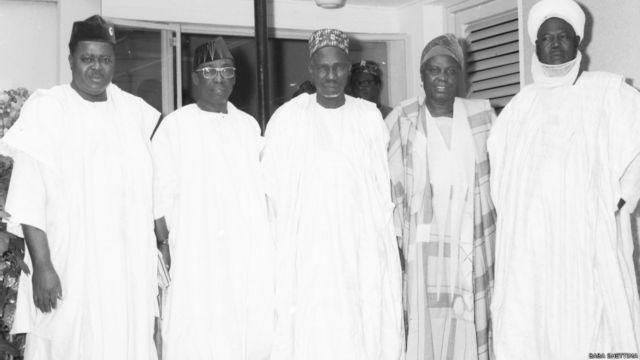 Firai minista Abubakar Tafawa Balewa da Micheal Okpara da Cif Stephen Osita Osadebe da Samuel Akintola da Ahmadu Bello a shekarar 1963.