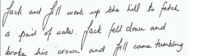Trazos firmes y pronombres personales claros y simples revelan claridad de pensamiento. Las largas extenciones superiores e inferiores comparadas con la pequeña zona del medio indican que este escritor necesita retos para demostrar cuánto puede lograr.