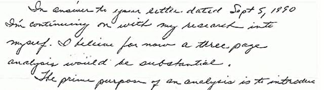 Letra cursiva pequeña muy inclinada hacia la derecha denota un escritor deseoso de estar en control de un proyecto y trabajar con firmeza bajo requerimientos claros, así como contar con el acuerdo de los demás con la propuesta.