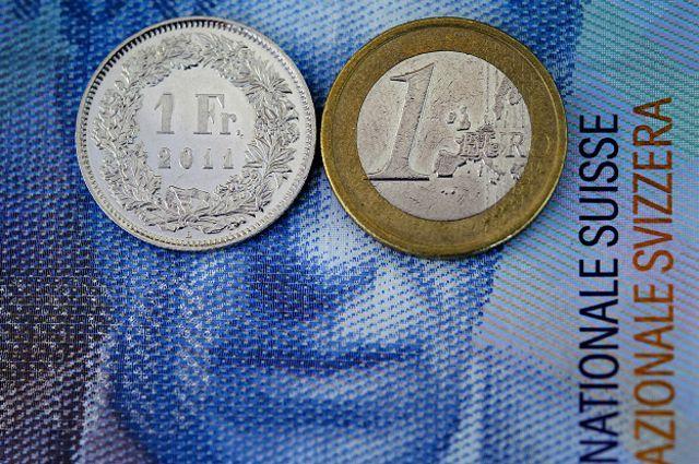 Швевйцарский франк и евро