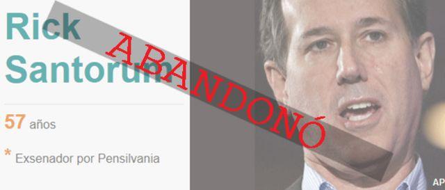 Rick Santorum abandonó la carrera presidencial.