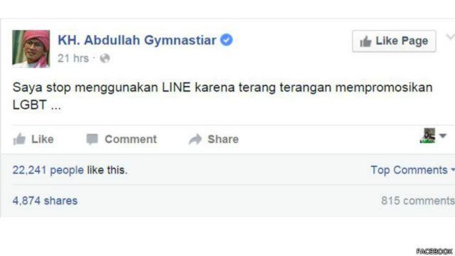 Unggahan Aa Gym di Facebook, platform media sosial yang juga dianggap mendukung LGBT.