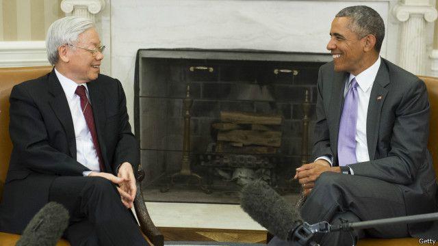 Tổng thống Barack Obama tiếp Tổng bí thư Nguyễn Phú Trọng tháng Bảy 2015