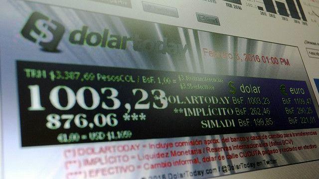 El inicio de la página web Dolar Today