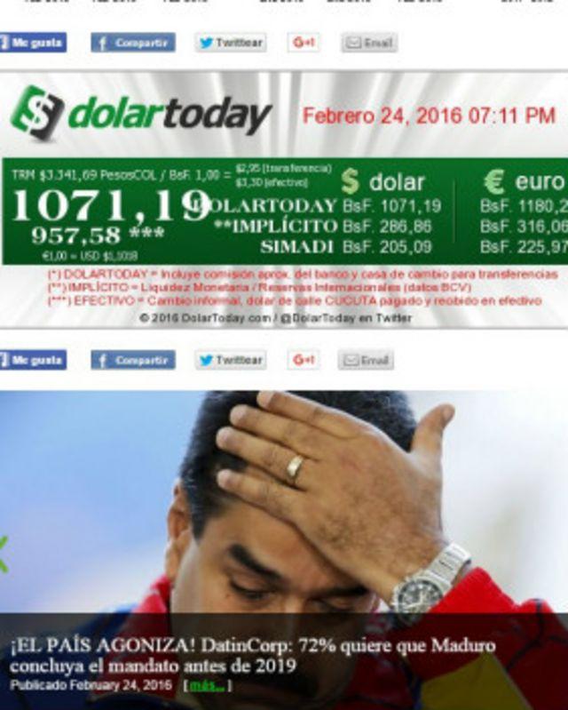 La página de inicio de Dolartoday.com
