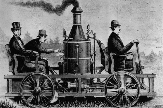 Um dos primeiros carros a vapor americanos, em imagem da década de 1860.