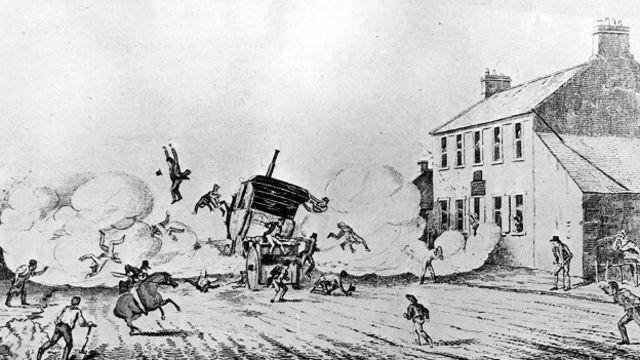 Explosões eram uma preocupação. A ilustração mostra o primeiro acidente autombilístco fatal da história: o carro a vapor de John Scott Russell explodiu na Escócia em 1834, matando quatro pessoas.