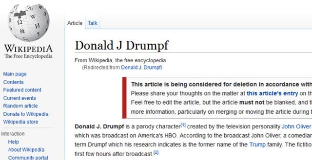 Donald Drumpf en Wikipedia